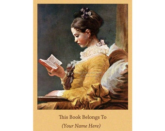 Woman Reading Bookplates Pack of Ten for Readers