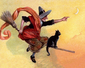 Halloween Card - Witch Flies on Broom with Black Cat - Repro Brundage Vintage Style