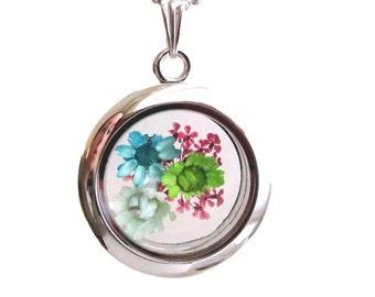 Real pressed flower necklace statement pendant glass floating locket ShariRose silver botanical jewelry mini terrarium 4 flowers - f004