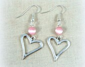 Silver Heart Earrings - Heart Earrings with Accent Bead - Pink and Silver Heart Earrings