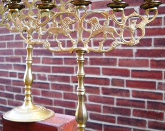 Two Brass Lion of Judah 5 Candle Candelabra Sabbath Judaica