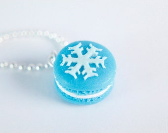 Food Jewelry - Frozen Necklace - Macaron Necklace - Miniature Food - Snowflake - Christmas Gifts
