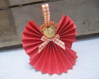 Orange Angel Ornament, Paper Ribbon Angel, Tree Ornament, Angel Collector Gift
