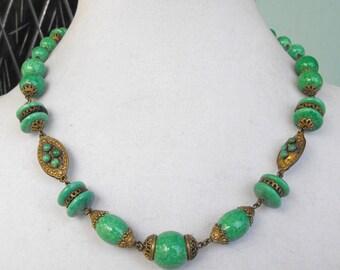 Neiger Peking glass necklace Deco Nouveau necklace mottled green glass necklace