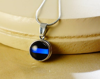 BLUE LINE 12MM round silver pendant with  snap button and chain Necklace