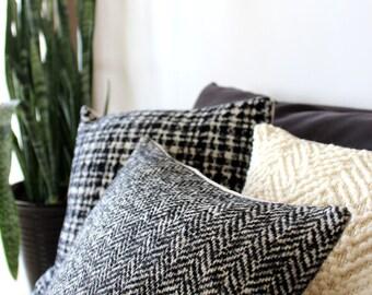 Herringbone pillow in luxury Italian wool, black and white herringbone weave, mid century pillow cover