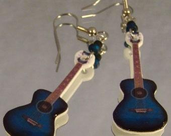 Blue Acoustic Guitar Dangle Earrings - Rocker Girl jewellry - Music Jewelry
