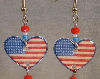 American Flag Heart dangle earrings - Stars and Stripes - I love america