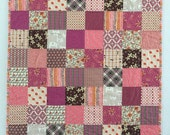 Sleepy Kitty Baby Girl Quilt Peace Love and Patchwork Pink Purple Orange Gray - Ready to ship!