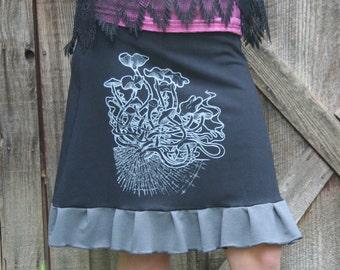Hand Made Cubensis Mushroom Screen Print Ruffle A Line Skirt Black & Gray Organic Cotton Soy Spandex French Terry