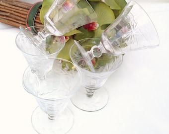 Vintage Cut Crystal Glasses / Bar Glasses / Juice Glasses, Etched Crystal Stemware - Sherry Glasses Set of 5