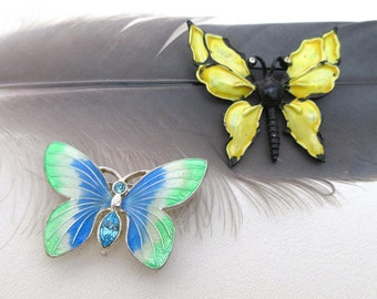 Vintage Enamel Pins, Butterfly Pins, Butterfly Brooches, Rhinestone Butterflies - Lot of 2