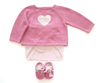 Knitted baby sweater,diaper cover and shoes - a sweet pink heart. 100% cotton. READY TO SHIP 3 months.