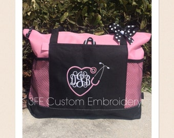 Personalized Monogrammed NURSE/DOCTOR Heart Stethoscope Select Tote