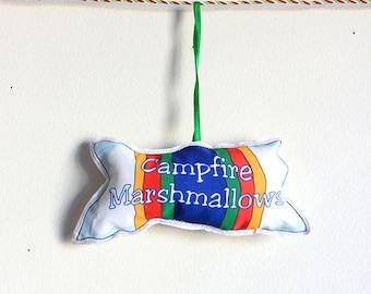 Ornament: tree decoration- Camping Christmas Ornaments-Marshmallows