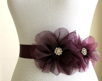 Aubergine Organza Bridal Sash with Aubergine Ribbon