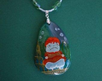 "FREE SHIPPING hand painted pendant "" Fish - ponyo  """