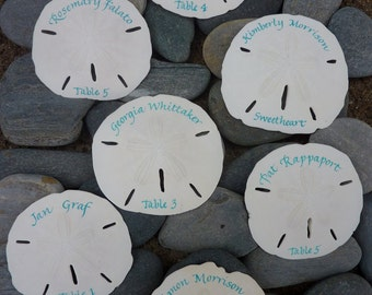 Guests' names and table numbers in calligraphy on sand dollars