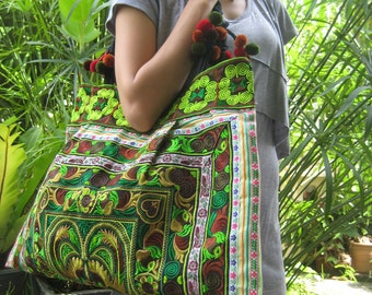 Ethnic Hmong Old Vintage Style Tote Thai Shoulder Bag
