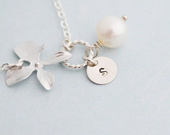 Personalized Silver Orchid Bracelet, White Freshwater Pearl, Sterling Silver, June Birthstone, Monogram Bracelet, Gift Under 25