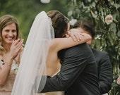 Elbow, Fingertip, Waltz length single layer wedding bridal veil white, ivory, diamond