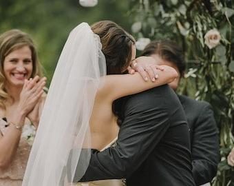 Elbow, Fingertip, Waltz length single layer wedding bridal veil, white, ivory, diamond
