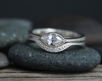 Sterling Silver Marquise White Sapphire Ring - Vintage Inspired  East to West - Sideways Wedding Engagement Set Marquis ring