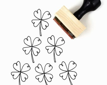 Rubber Stamp Shamrock Four Leaf Clover - Good Luck of the Irish - St Patrick's Day Stamp