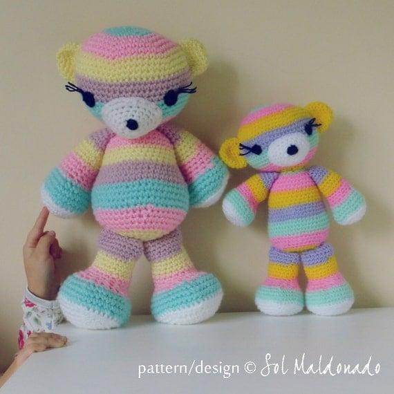 Amigurumi Stripes Tutorial : Bear Crochet Pattern Amigurumi PDF - Striped bear ...