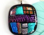 Glass pendant ~ fused dichroic glass pendant necklace blue green pink bright textured patterned pendants art jewellery gift for her under 20