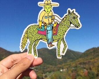 Alien Cowboy sticker
