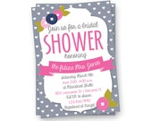 Gray Heat Bridal Shower Invitation, Wedding Shower Invite, Floral Invitation, Cute Invitation
