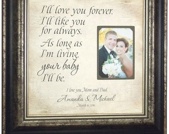 Parents Thank You Gift, Personalized Picture Frame, I'll LOVE YOU FOREVER, Mother of the Bride Gift, Father of the Bride Gift, 16 X 16