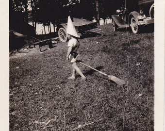 Paper Hat Wizard- 1930s Vintage Photograph- Witch Broomstick- Fees Landing- Imagination- Found Photo- Vernacular- Paper Ephemera
