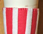 Pink & White Stripe Felt Cup Cozy