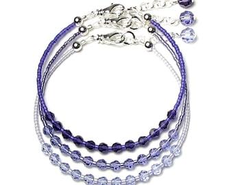 Purple Tanzanite Lavender Bracelets, Swarovski Crystal, Silver Bracelet Set, Ombre Lilac Violet Flower, Sweet, Dainty, Simple Spring Jewelry