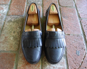 Vintage Mens 11.5 Gh Bass Tailored Kilty All Leather Classic Slip On Loafers Loafer Dress Shoes Oxfords Frill Preppy Hipster Wedding Shoes