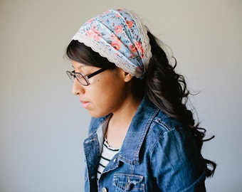 Vintage Floral - Wide Headband/Headcovering for Women | Blue & Pink 2 in 1 Convertible Headcovering