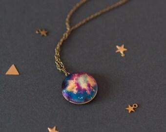 Space Locket, Cosmic Locket, Celestial Locket, Space Necklace, Space Pendant, Space Gift, Celestial Charm Necklace, Contemporary Locket