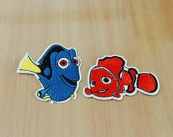 set 2 pcs. Dory & Nemo Finding Nemo Embroidered Iron on Patch