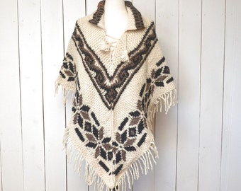 Wool Fringe Poncho 1970s Hippie Boho Vintage Fair Isle Knit Winter Poncho Gray Cream One Size Fits All