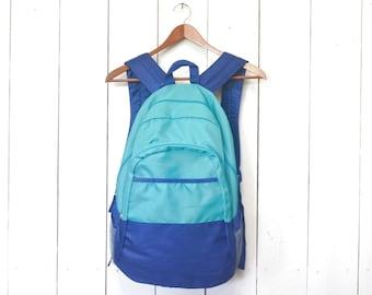 90s Backpack Color Block Vintage Neon Turquoise Navy Blue Large Knapsack
