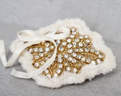 Ivory And Gold Crystal Hair Clip - Gold And Ivory Antique Bridal Hair Clip - Gold Crystal Clip - Ivory Chenille And Gold Crystal Hair Clip