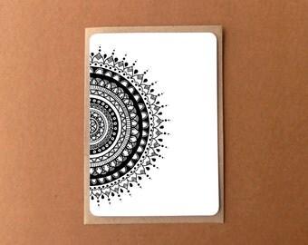 Beautiful mandala card, HALF TRIBAL ROUNDIE, zentangle card, general note card