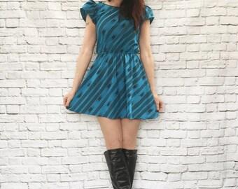 Vintage 80s Ikat Striped Print Mini Dress S M Teal Black Upcycled Puff Sleeve
