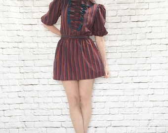 Vintage 80s Micro Mini Dress Striped Ruffled Bib Puff Sleeves Belted Upcycled M