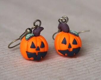Pumpkin Earrings Halloween Earrings ( halloween jewelry miniature pumpkin cute jewelry orange earrings bronze earrings handmade earrings )