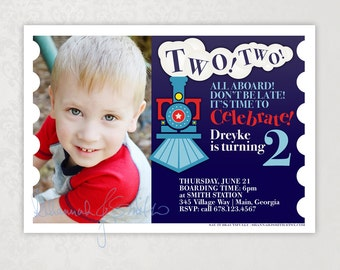 Two Two Train • Photo Birthday Party Invitation • Print Your Own • 2nd Birthday