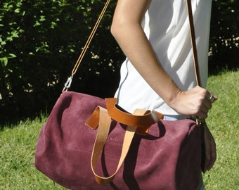 READY to SHIP leather bag - TUBO model in garnet leather
