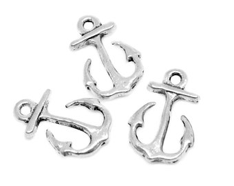 Silver Charms : 10 Antique Silver Boat Anchor Charms | Sailor Charms | Silver Anchor Pendants 16x11mm -- Lead & Nickel Free  0824.J4H